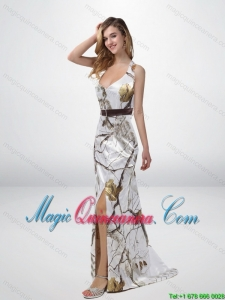 New Arrival Column Halter Top Camo Dama Dresses with Sashes