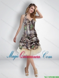 New Arrival 2015 Short Halter Top Camo Dama Dresses with Knee Length