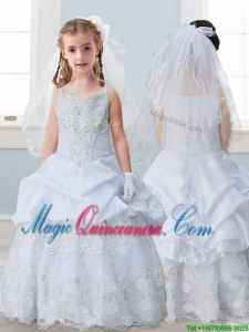 Best Spaghetti Straps Kid Pageant Dress with Lace and Pick Ups