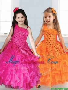 Best Asymmetrical Neckline Little Girl Pageant Dress with Appliques and Ruffled Layers