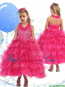 Latest Halter Top Beading and Ruffled Layers Little Girl Pageant Dress in Hot Pink