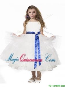 Romantic Ruffled Layers and Bowknot Romantic Ruffled Layers and Bowknot Kid Pageant Dress in Whit Dress in White