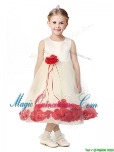 Best Scoop Kid Pageant Dress with Red Hand Made Flowers