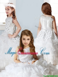 Fashionable Asymmetrical Neckline Little Girl Pageant Dress with Beading and Ruffles