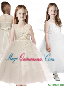 See Through Scoop Appliques Flower Girl Dress in Champagne