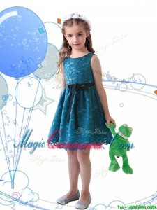 Wonderful Laced and Sashed Scoop Little Girl Pageant Dress in Teal
