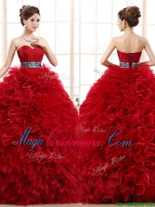 Luxurious Sashed and Ruffled Sweet 16 Fashionable Quinceanera Dress in Wine Red