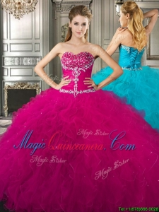 Fashionable and Affordable Beaded and Ruffled Fuchsia Sweet 16 Quinceanera Dress in Tulle
