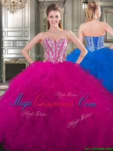 Popular Beaded and Ruffled Big Puffy Sweet 16 Fashionable Quinceanera Dress in Fuchsia