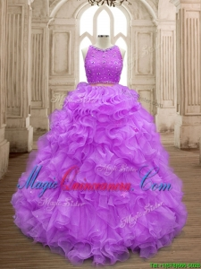 Wonderful Beaded and Ruffled Scoop Sweet 16 Dress in Lilac