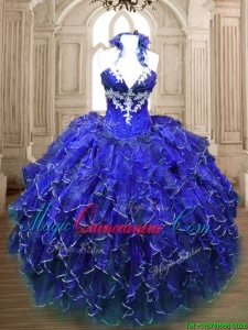 Hot Sale Applique and Ruffled Quinceanera Dress in Royal Blue
