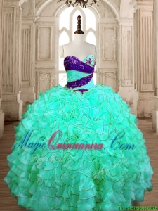 Wonderful Beaded and Ruffled Quinceanera Dress in Turquoise for Spring