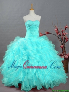 2015 Fall Pretty Sweetheart Beaded Quinceanera Dresses in Organza