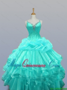 2015 Winter New Style Straps Quinceanera Dresses with Beading and Ruffled Layers