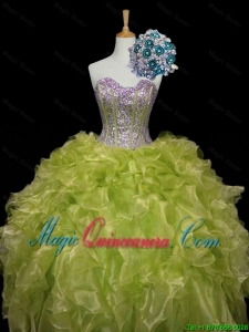 Luxurious 2015 Fall Ball Gown Sweet 16 Dresses with Sequins and Ruffles in Yellow Green