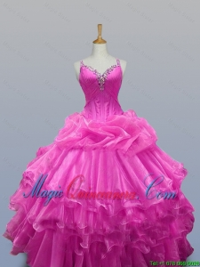 Perfect Straps Quinceanera Dresses with Beading and Ruffled Layers for 2015 Fall