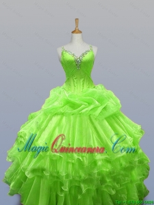 Pretty 2016 Summer Straps Quinceanera Dresses with Ruffled Layers