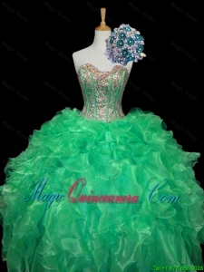 Top Seller 2016 Summer Turquoise Ball Gown Quinceanera Dresses with Sequins and Ruffles