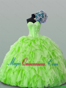 2015 Fall Beautiful Sweetheart Yellow Green Beading Quinceanera Dresses with Ruffles