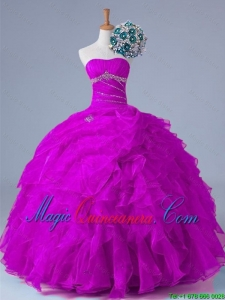 2015 Fall Elegant Strapless Quinceanera Dresses with Beading and Ruffles