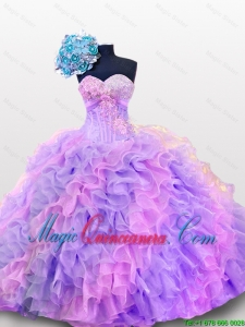 2015 Fall Luxurious Quinceanera Dresses with Sequins and Ruffles