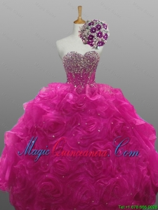2015 Winter New Style Quinceanera Dresses with Beading and Rolling Flowers