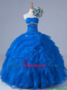 2015 Winter Pretty Strapless Quinceanera Dresses with Beading and Ruffles