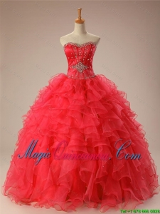 2016 Summer Beautiful Sweetheart Beaded Quinceanera Dresses with Ruffles