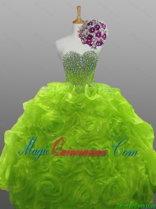 Luxurious 2015 Winter Sweet Rolling Flowers Quinceanera Gowns in Organza