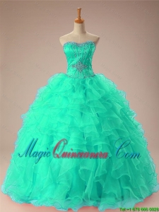 Luxurious 2015 Winter Sweetheart Beaded Quinceanera Dresses with Ruffles