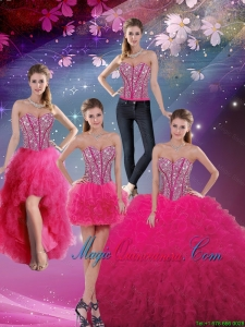 Pretty Sweetheart Beaded and Ruffles Detachable Quinceanera Skirts in Hot Pink