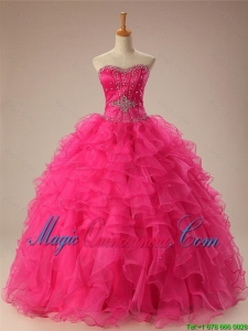 2015 Fall Elegant Beaded Quinceanera Dresses with Ruffles in Organza