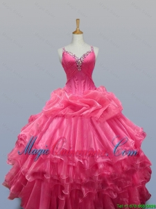 2015 Fall Elegant Straps Quinceanera Dresses with Beading in Organza