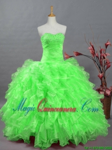 2015 Fall Fast Delivery Quinceanera Dresses with Beading and Ruffles