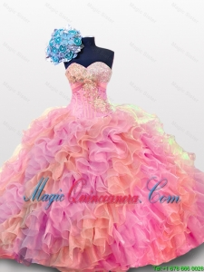 2015 Fall Perfect Sweetheart Quinceanera Dresses with Sequins and Ruffles