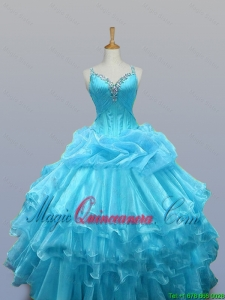 2015 Fall Pretty Straps Beaded Quinceanera Dresses with Ruffled Layers