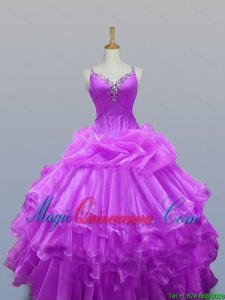 2015 Winter New Style Straps Beaded Quinceanera Dresses with Ruffled Layers