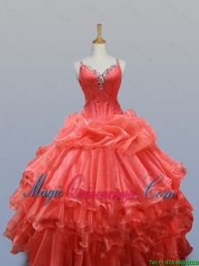Elegant Ruffled Layers Straps Quinceanera Dresses with Beading for 2016 Summer