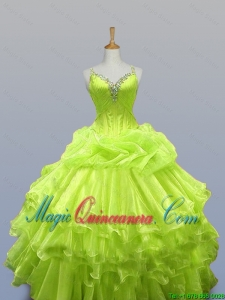 Luxurious Straps Quinceanera Dresses with Ruffled Layers for 2015 Fall