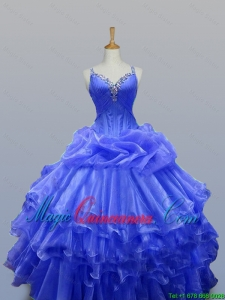 New Arrival 2016 Summer Straps Quinceanera Gowns with Beading in Organza