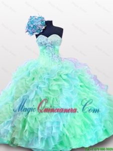 2015 Fall Elegant Sweetheart Appliques Quinceanera Dresses with Sequins and Ruffles