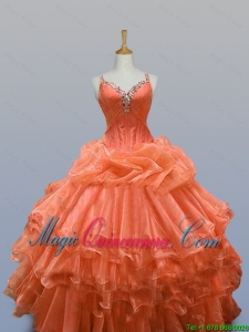 New Arrival 2016 Summer Straps Quinceanera Dresses with Beading and Ruffled Layers