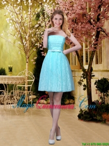 2016 Discount A Line Laced Dama Dresses with Belt in Aqua Blue