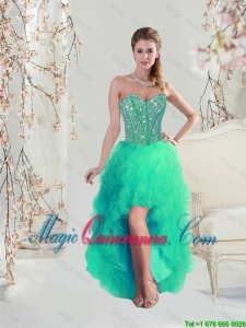 Afforable High Low Beaded and Ruffles Apple Green Prom Dresses for 2016