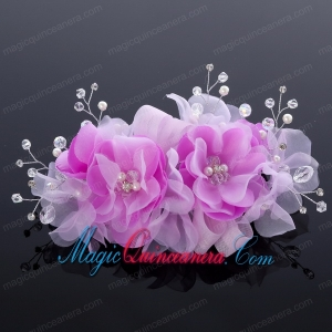Beautiful Tulle Lilac 2014 Hair Flower with Rhinestone