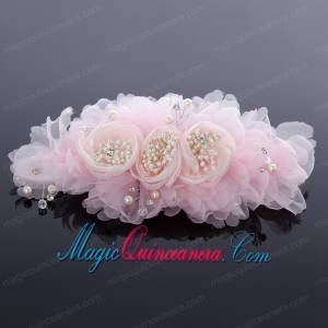 Elegant Imitation Pearls Pink Hair Ornament for Wedding