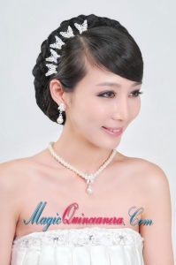 Fashionable Alloy WithPearls Wedding Jewelry Set Including Necklace Earrings And Headpiece