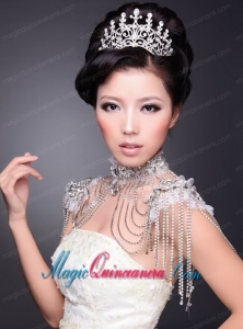High Quality Alloy With Crystal Ladies Tiara and Necklace