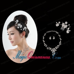 Butterfuly Rhinestone and Pearl Necklace Headpiece Wedding Jewelry Set