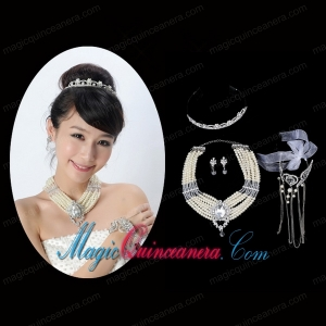 Elegant Alloy With Pearl/Rhinestone Women Jewelry Sets